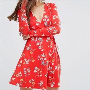 ASOS floral red wrap mini dress